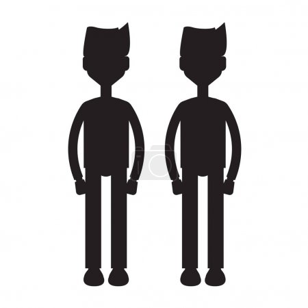 Illustration for Twins cartoon characters silhouette illustration on white background - Royalty Free Image
