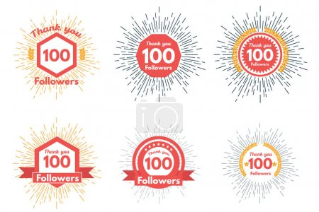 Illustration for Thank you followers icons or badge set. vector illustration - Royalty Free Image