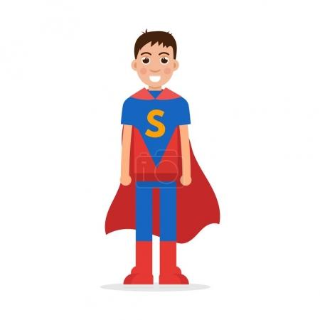 Illustration for Son superheroes. Super Boy character. Vector illustration. - Royalty Free Image