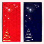 New Year or Christmas banners set with gold and silver serpentine shaped Christmas tree sparkles and snowflakes