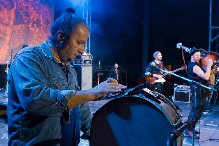 Moldovian folk rock group Zdob si Zdub, performance at live concert in Nemyriv, Ukraine, 21.10.2017, editorial photo