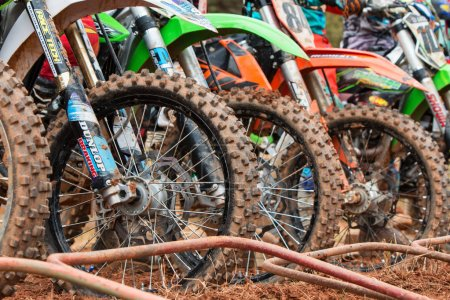 Dirt Bike Tires Lined Up