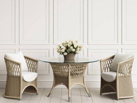 Photo pour Meubles de jardin en intérieur classique. Chaises en rotin, table, vase avec des roses. Illustration.3d numérique rendu - image libre de droit