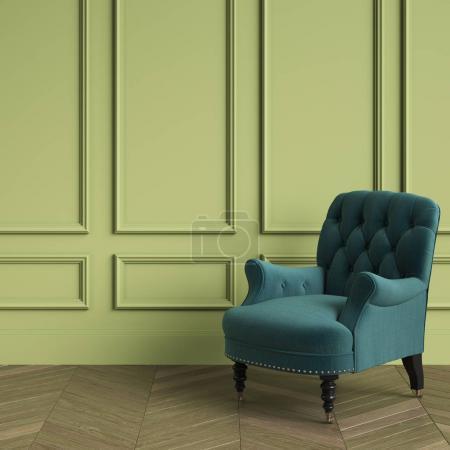 Photo pour Permanente classique tufté couleur émeraude fauteuil intérieur classique. Les murs végétalisés avec moulures, sol parquet chêne chevrons. Illustration.3d numérique rendu - image libre de droit