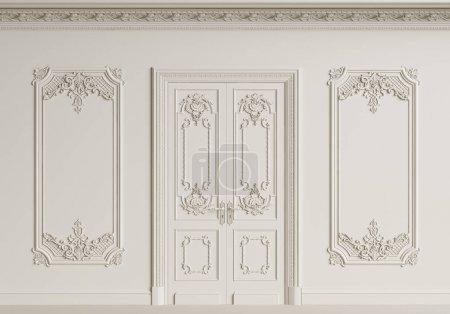 Photo pour Mur intérieur classique. Moulures, corniche ornementée, porte.Illustration numérique.3d rendu - image libre de droit
