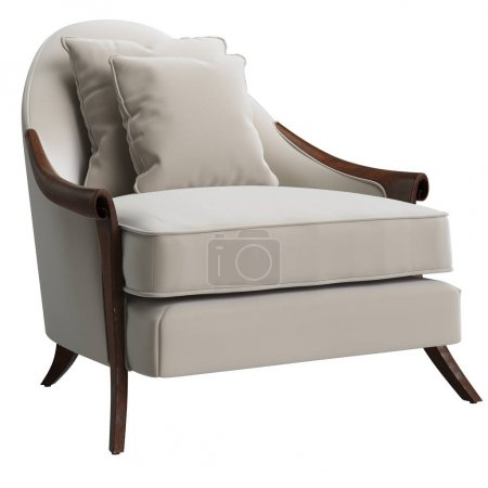 Photo pour Chaise classique isolée sur fond blanc.Illustration numérique.3d rendu - image libre de droit