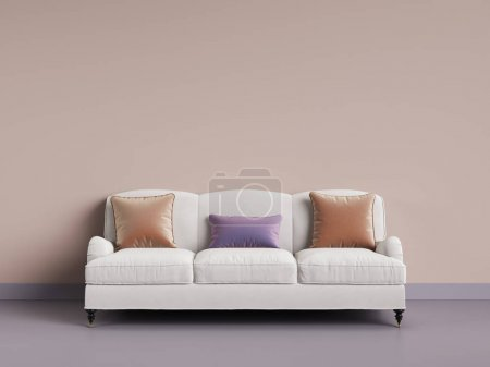 Photo for Classic sofa in empty room. Pink wall,violet floor,pastel gamma.Digital illustration. 3d rendering - Royalty Free Image