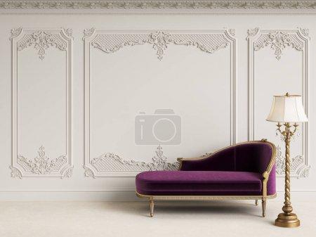 Photo pour Meubles classiques dans un intérieur classique avec l'espace de la copie. Murs blancs avec moulures et corniche ornée. Digital Illustration.3d rendu - image libre de droit