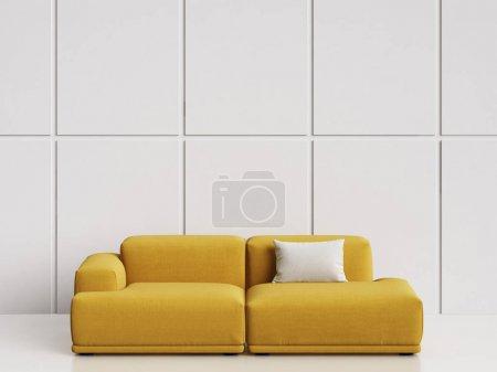 Photo pour Canapé design scandinave moderne intérieur vide blanc. Copiez l'espace intérieur de la maquette. Illustration.3d numérique rendu - image libre de droit