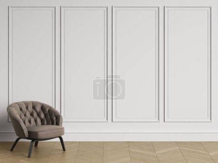 Photo pour Tuffeté fauteuil dans un intérieur classique avec l'espace de la copie. Murs blancs avec moulures. Chevrons de plancher de parquet. Digital Illustration.3d rendu - image libre de droit