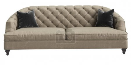 Photo for Classic tufted sofa ivory color with 2 grey pillows isolated on white background.Front view.Digital illustration.3d rendering - Royalty Free Image
