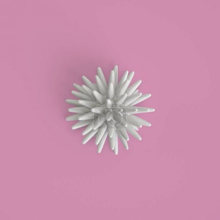 Photo pour Décor marin abstrait sur fond rose pastel. Pose plate. Mode à la mode Style. Design minimaliste Art. Illustration numérique.3d rendu - image libre de droit