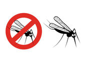 Vector illustration of black silhouette of mosquito and red circle