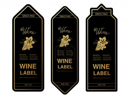 Ilustración de Vector negro oro las etiquetas del vino con uvas sobre fondo blanco - Imagen libre de derechos