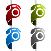 phone icon at edge of web page Symbol Contact us Button of call center services Vector illustration