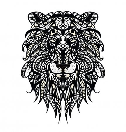 Patterned head of the lion. Adult anti-stress coloring page. Black white hand drawn doodle animal. African / indian / totem / tattoo design. T-shirt, bag, postcard, poster design