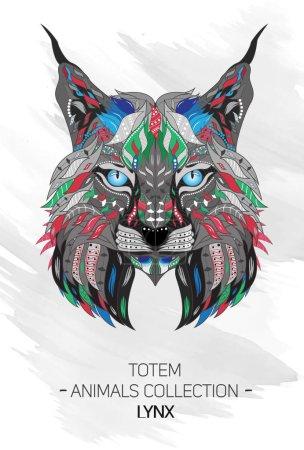 Illustration pour Tête à motifs de lynx, chat sauvage sur le fond grunge. Totem africain, indien, aztèque, tatouage, motif t-shirt . - image libre de droit