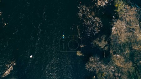 Kayaking on the river. Aerial view. Spring. Ukraine.