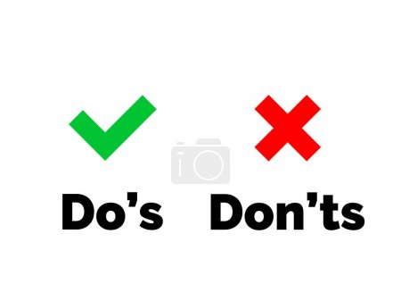Illustration for Dos and Donts check tick mark and red cross icons isolated on transparent background. Vector Do and Don't checklist or choice option symbols - Royalty Free Image