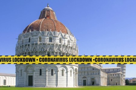 Photo for Coronavirus lockdown concept: an empty Piazza dei Miracoli in Italy bordered by a yellow and black safety tape with the word coronavirus lockdown following the restrictive measures to prevent contagion spread. - Royalty Free Image