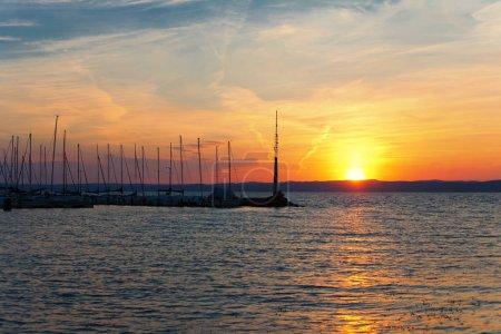 Beautiful sunset over lake Balaton (Siofok, Hungary)