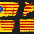 Catalonia Flags and map vector grunge style isolat...