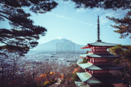 Mt fuji with red pagoda