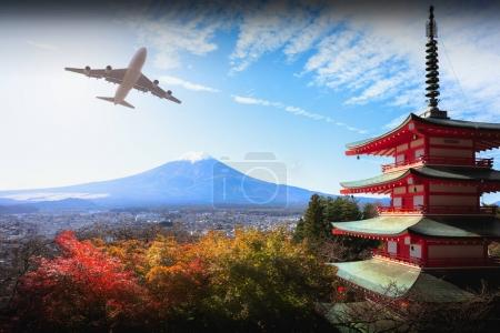 Mt fuji with red pagoda in autumn