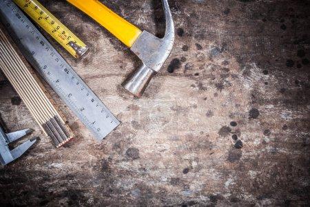 Photo for Tool kit renovation on grunge wood - Royalty Free Image