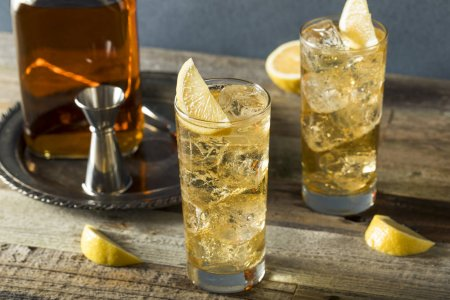 Whiskey Highball with Ginger Ale and Lemons...