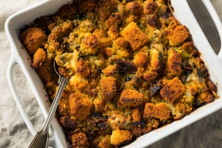 Photo for Homemade Thanksgiving Oyster Cornbread Stuffing with Thyme - Royalty Free Image