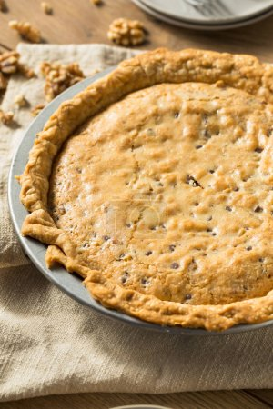 Photo for Homemade Chocolate Walnut Derby Pie with Whipped Cream - Royalty Free Image