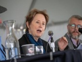 Alice Waters speaking at 2018 Bay Area Book Fest at a panel abou