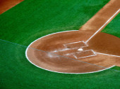 Overhead view of home plate portion of a baseball field