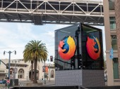 Mozilla Firefox logo outside of San Francisco location with palm