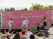 Two children spar aikido at the San Francisco Cherry Blossom Festival