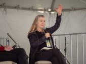 Rebecca Solnit speaking at 2018 Bay Area Book Fest at a panel ab