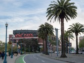 AT&T Park logo and stadium before a San Francisco Giants game