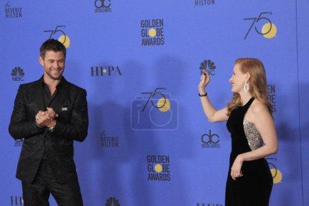 LOS ANGELES - JAN 7:  Chris Hemsworth, Jessica Cha...