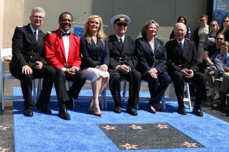 Photo for LOS ANGELES - MAY 10:  Fred Grandy, Ted Lange, Jill Whelan, Gavin MacLeod, Lauren Tewes, Bernie Kopell at the Princess Cruises Receive Honorary Star Plaque as Friend of the Hollywood Walk Of Fame at Dolby Theater on May 10, 2018 in Los Angeles, CA - Royalty Free Image