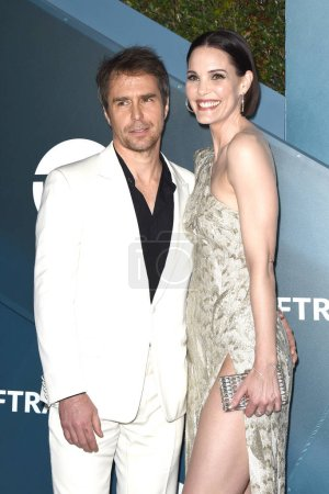 Photo for LOS ANGELES - JAN 19:  Sam Rockwell, Leslie Bibb at the 26th Screen Actors Guild Awards at the Shrine Auditorium on January 19, 2020 in Los Angeles, CA - Royalty Free Image
