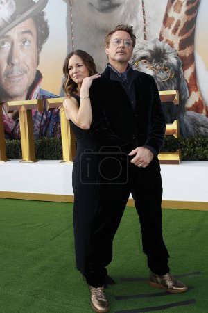"""Photo for LOS ANGELES - JAN 11:  Robert Downey Jr, Susan Downey at the """"Dolittle"""" Premiere at the Village Theater on January 11, 2020 in Westwood, CA - Royalty Free Image"""