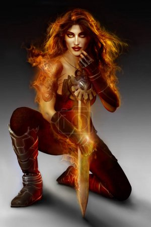 Photo for Sexy goddess, priestess or warrior in flames with sword and wings. - Royalty Free Image