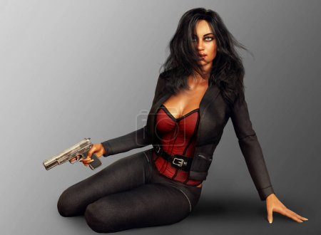 Photo for Urban fantasy assassin, beautiful woman seated with gun, dressed in black leather. - Royalty Free Image