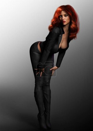 Beautiful Sexy Woman in Black Leather in Pinup Pose