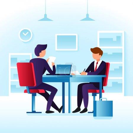 Contender work employees and job interview. Cartoon man employee