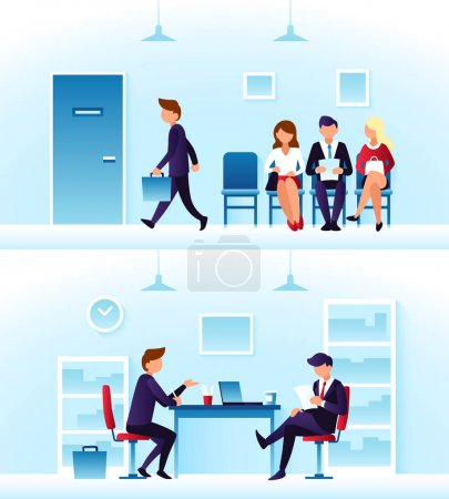 Businessmen, diverse employees waiting interview in row. Contender employee and interviewer sitting at desk on chairs. Recruitment and headhunting vector concept