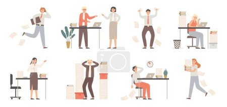 Photo for Stressed business people. Busy office workers, angry boss in panic and work chaos. Failure deadline stress, stressed job and tired confusing businessman worker. Isolated vector illustration icons set - Royalty Free Image
