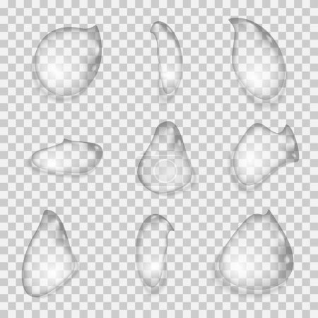 Illustration pour Ensemble de gouttes d'eau sur un fond transparent. Illustration vectorielle . - image libre de droit