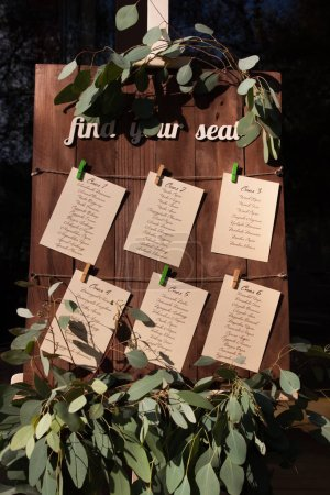 easel with the seating chart